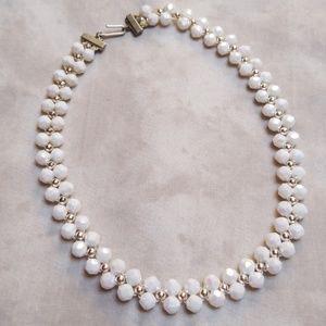 Vintage white bead choker necklace